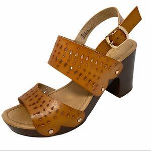 ALTAR'D STATE Laser Cut Brown Leather Block Heel